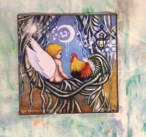Picture of Rooster and Cherub Tile by Abigail White